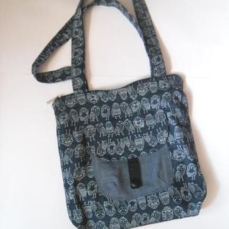 Джинсовая сумка с совушками