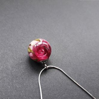 Серебряный кулон с розой