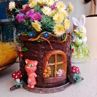 """Цветочный горшок """"Лесной домик"""""""
