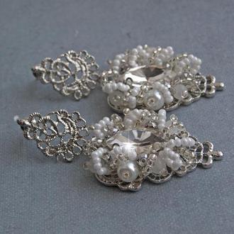Свадебные серьги Белые серьги Серьги с кристаллами