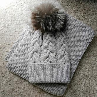 Комплект шапка + снуд (слоновая кость)