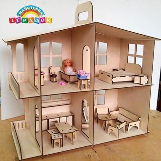 Кукольный домик с мебелью из фанеры