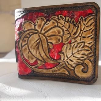 Кожаный кошелек из кожи змеи Цветочный
