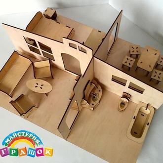 Кукольный домик с мебелью, 1 этаж, игрушечный домик с мебелью из фанеры