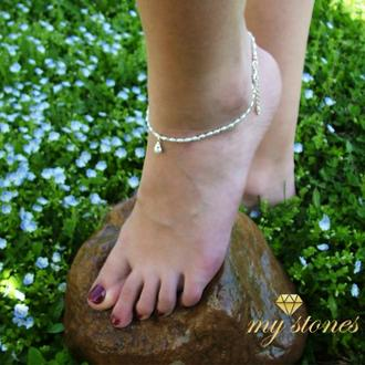 """Браслет на ногу из жемчуга, лунного камня и серебра 925 пробы """"Conch"""""""