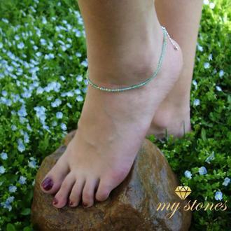 """Браслет на ногу из топаза, желтого сапфира и серебра """"Fireflies"""""""