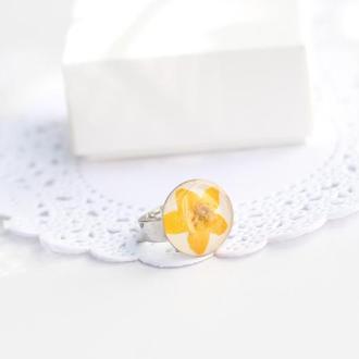 Кольцо из сухоцветов Кольцо с реальным цветком и эпоксидной смолы кольцо с цветами