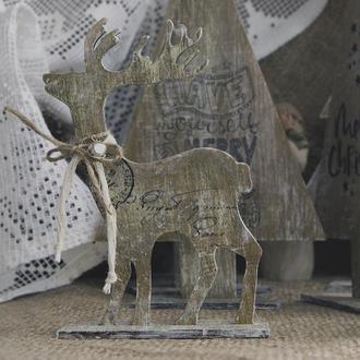 Новогодняя игрушка Wooden reindeer (vintage) art 0200