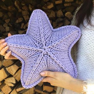 Подушка звезда, подарок, вязанная подушка для интерьера лилового цвета звезда