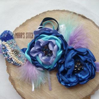 Цветы из ткани: повязки, заколки, обручи