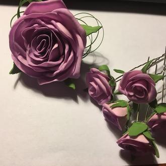 """Заколка шпильки """"Чарівні трояндочки"""""""