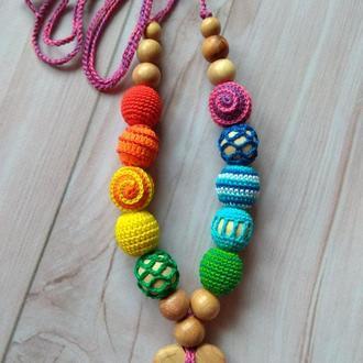 Можжевеловые радужные слингобусы мамабусы игрушка вязаная ручная работа подарок малышу