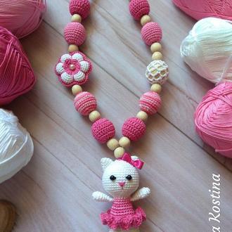 Вязаные слингобусы Кошечка мамабусы девочке ручная работа подарок малышу