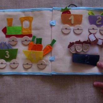 """М'яка дитяча книжка """"Рахуємо до 5"""" - розвиваюча іграшка"""