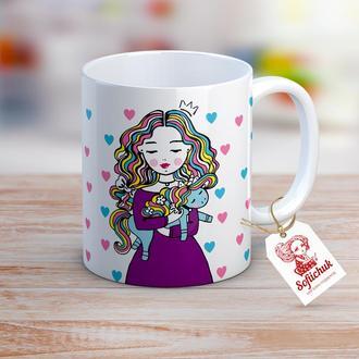 Дизайнерская чашка с текстом и авторским рисунком- Принцесса и Единорог