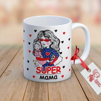 """Чашка с авторским рисунком """"Супер Мама"""""""