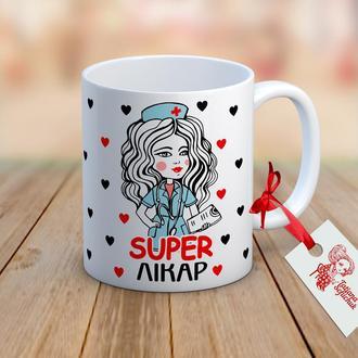 """Чашка с авторским рисунком для врача """"Супер лікар"""""""