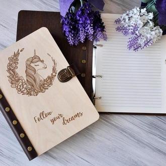 """Личный блокнот """"Единорог"""" А5 в деревянной обложке"""