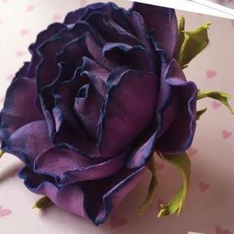 "Брошь - заколка ""Rose Dark violet"""