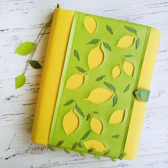 Большой Планер Лимон Обложка кожа 18см х 22см Блокнот Планнер