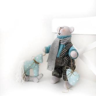 Северный мишка с лошадкой игрушка тильда подарок Тедди лошадь дочке сыну подруге