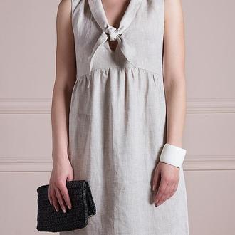 Платье - галстук. Цвет натуральный. Размеры S M L XL. 100% лен