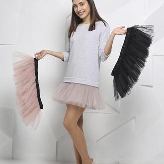 Комплект платье-трансформер Airdress (серый верх + 3 съемные юбочки: дымчатая, пудровая, черная)