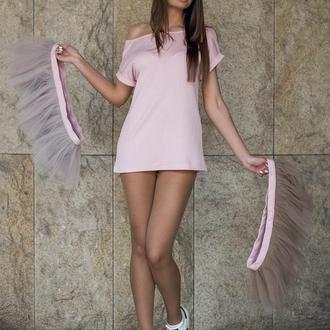 Комплект платье-трансформер Airdress (розовый верх + 2 съемные юбочки: дымчатая, латте)