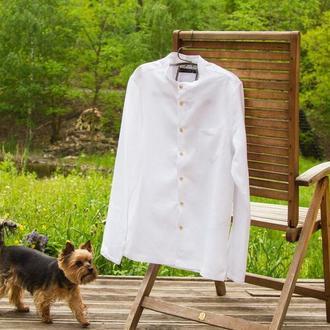 Мужская рубашка с воротником стойка
