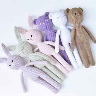 Вязаные игрушки зайчики и мишки для малышей. Мягкие игрушки для сна и игры. Подарок новорожденному.