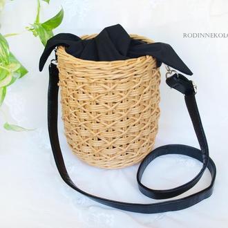 Плетеная сумка бочонок