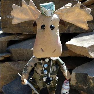 КуклаИз Ткани Лось Рыбачёк Текстильная игрушка ХендМейд ПодарокРыбаку Оберег для Дома