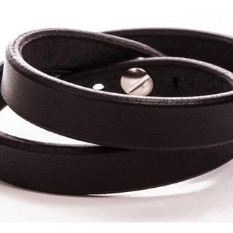 Черный браслет в 2 оборота с индивидуальной гравировкой