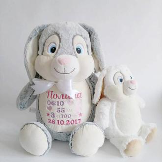Именная игрушка, игрушка с вышивкой зайчик