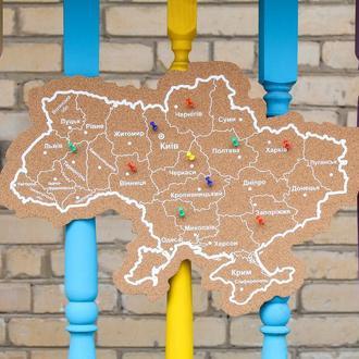 Пробковая карта Украины, доска органайзер