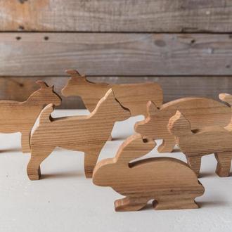 """Набор  деревянных игрушек  """"Животные на ферме""""."""