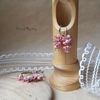 Цветочный комплект украшений, нежно розовые серьги и браслет