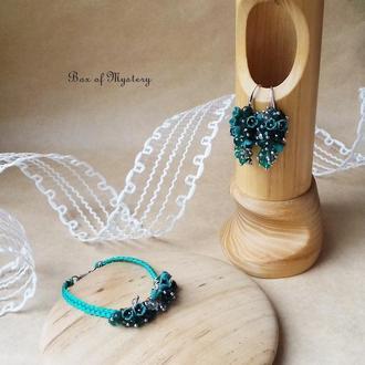 Бирюзовый цветочный комплект украшений, серьги грозди и браслет