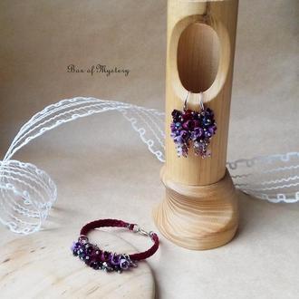 Бордовый цветочный комплект украшений, серьги грозди и браслет