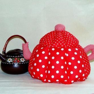 Сувенир грелка для чайника красная Горох
