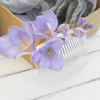 Гребень для волос с цветами сиреневой Фрезии