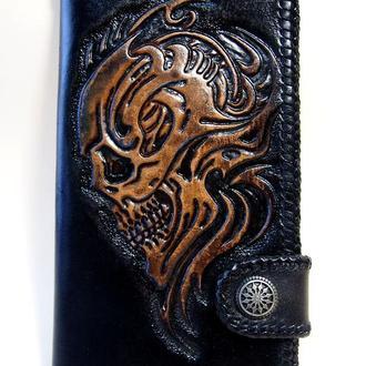 Кожаный кошелек Череп биомеханика