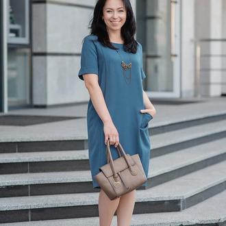 Летнее Платье Просторное, синего цвета (оттенок деним)