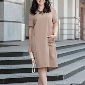 Летнее Платье Просторное, бежевого цвета