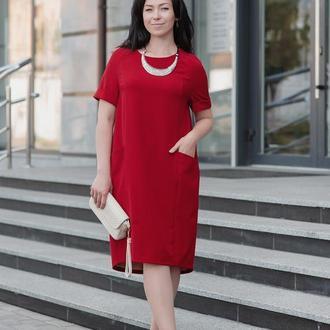 Летнее Платье Просторное, красного цвета