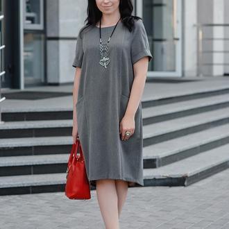 Летнее Платье Просторное, серого цвета