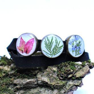 Двойной браслет & чекер с настоящими цветами