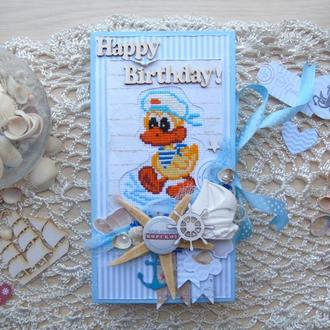 Коробочка-шоколадница на день рождения в морском стиле