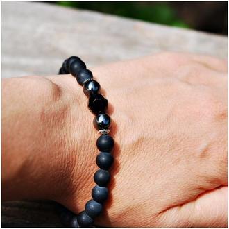 Мужской браслет из натурального агата, шунгита, гематита