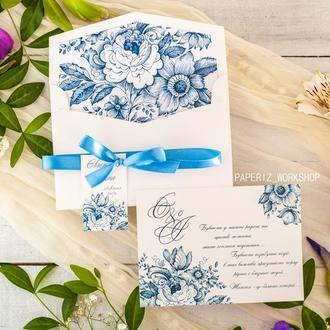 Свадебное приглашение в конверте c цветами